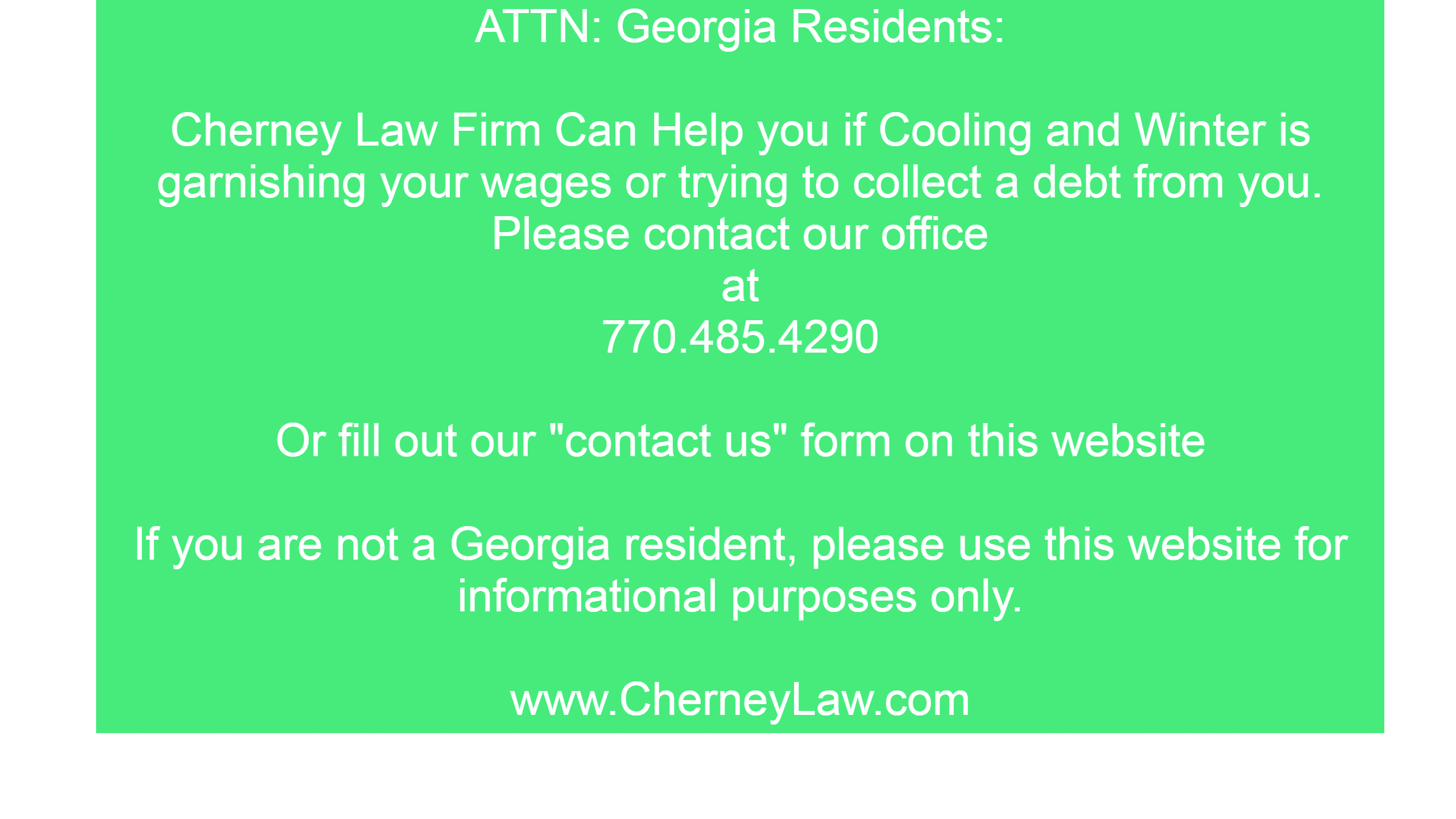 cooling and winter is debt collection law firm in georgia